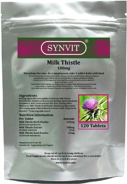 Milk Thistle 100mg x 120/360 Tablets; Providing 80% Silymarin; Synvit